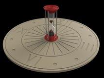 Κλεψύδρα και ηλιακό ρολόι τρισδιάστατες Στοκ εικόνα με δικαίωμα ελεύθερης χρήσης