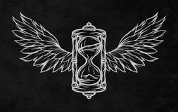 Κλεψύδρα και φτερά διανυσματική απεικόνιση