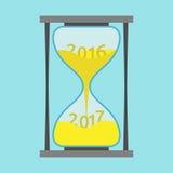 Κλεψύδρα, νέο έτος 2017 διανυσματική απεικόνιση
