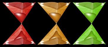 Κλεψύδρα φιαγμένη από εδροτομημένα πολύτιμους λίθους τρίγωνα Στοκ Εικόνα