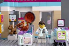 Κλινική κτηνιάτρων φίλων Lego με τα κατοικίδια ζώα και το γιατρό Στοκ Φωτογραφίες