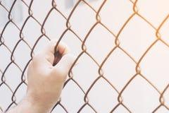 Κλουβί χεριών και χάλυβα στον εκλεκτής ποιότητας τόνο Στοκ Φωτογραφίες