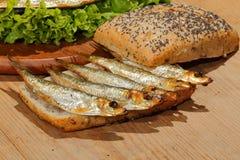 Κλυπέες, που καπνίζονται, σαλάτα, λεμόνι, κρεμμύδια, ολόκληρο ψωμί σίτου Στοκ εικόνα με δικαίωμα ελεύθερης χρήσης
