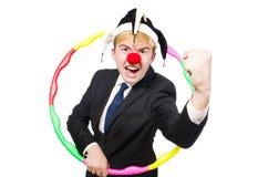 Κλόουν επιχειρηματιών στην αστεία έννοια που απομονώνεται Στοκ φωτογραφίες με δικαίωμα ελεύθερης χρήσης