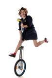 Κλόουν με ένα unicycle Στοκ Εικόνες