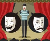 Κλόουν Mime που μιλά για τις μάσκες κωμωδίας και δράματος θεάτρων Στοκ Εικόνα
