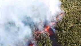 Λάβα από το ηφαίστειο που χύνεται στο δάσος και επάνω στο δρόμο ηφαιστειακή έκρηξη στη Χαβάη φιλμ μικρού μήκους