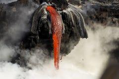 Λάβα που μπαίνει στο ωκεάνιο, μεγάλο νησί, Χαβάη Στοκ φωτογραφίες με δικαίωμα ελεύθερης χρήσης