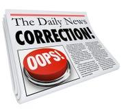 Λάθος λάθους εφημερίδων διορθώσεων που εκθέτει την αναθεώρηση αποτυπώσεων Στοκ εικόνες με δικαίωμα ελεύθερης χρήσης