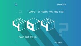 Λάθος 404 πρότυπο σελίδων με την επίπεδη διαστημική τέχνη Επίπεδο πρότυπο σελίδων 404 λάθους σχεδίου διανυσματικό για τον ιστοχώρ Στοκ εικόνα με δικαίωμα ελεύθερης χρήσης