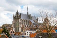 Λάιντεν, Ολλανδία, εναέρια άποψη εκκλησιών Pieterskerk Στοκ εικόνα με δικαίωμα ελεύθερης χρήσης