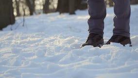 Λάκτισμα ατόμων το χιόνι σε σε αργή κίνηση απόθεμα βίντεο