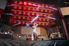 Λάμα, Γαλικία, Ισπανίας - 7 Μαΐου, 2018: Συναυλία από τη διάσημη ορχήστρα πανοράματος στα δημοφιλή φεστιβάλ της πόλης των λάμα μέ στοκ φωτογραφία