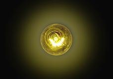Λάμπα φωτός αναμμένη στο Μαύρο Στοκ Εικόνα