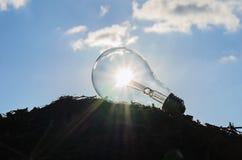 Λάμπα φωτός με την έννοια δύναμης sunshie Στοκ φωτογραφία με δικαίωμα ελεύθερης χρήσης