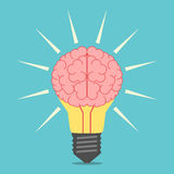 Λάμπα φωτός με τον εγκέφαλο Στοκ εικόνα με δικαίωμα ελεύθερης χρήσης