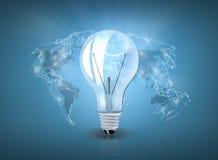 Λάμπα φωτός με τον παγκόσμιο χάρτη διανυσματική απεικόνιση