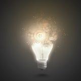 Λάμπα φωτός με cogwheels Στοκ εικόνες με δικαίωμα ελεύθερης χρήσης