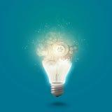 Λάμπα φωτός με cogwheels Στοκ φωτογραφίες με δικαίωμα ελεύθερης χρήσης
