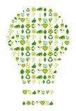 Λάμπα φωτός που γεμίζουν με τα βιο περιβαλλοντικά εικονίδια και τα σύμβολα eco Στοκ φωτογραφία με δικαίωμα ελεύθερης χρήσης