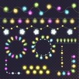 Λάμπες φωτός γιρλαντών καθορισμένες διανυσματική απεικόνιση