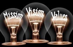 Λάμπες φωτός με την αποστολή, όραμα, έννοια τιμών στοκ εικόνες