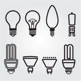 Λάμπες φωτός. Σύνολο εικονιδίων βολβών Στοκ εικόνες με δικαίωμα ελεύθερης χρήσης