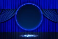 Λάμποντας αναδρομικό μπλε στρογγυλό έμβλημα στη σκηνική κουρτίνα ελεύθερη απεικόνιση δικαιώματος