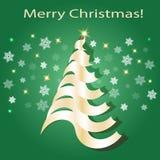 λάμποντας δέντρο Χριστου& Πράσινα και χρυσά χρώματα απεικόνιση αποθεμάτων