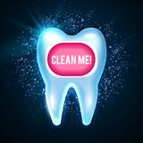 Λάμποντας δόντι Helthy με τα φω'τα Καθαρίζοντας δόντια Φρέσκο πρότυπο σχεδίου στοματολογίας Έννοια οδοντικής υγείας Στοματική φρο Στοκ Εικόνα
