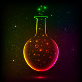 Λάμποντας μπουκάλι ουράνιων τόξων με τα μαγικά φω'τα Στοκ Εικόνα