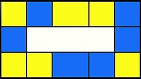 Λάμποντας μπλε και κίτρινα τετράγωνα φιλμ μικρού μήκους