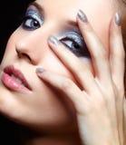 Λάμποντας πρόσωπο γυναικών makeup στοκ εικόνα με δικαίωμα ελεύθερης χρήσης