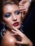 Λάμποντας πρόσωπο γυναικών makeup στοκ φωτογραφίες