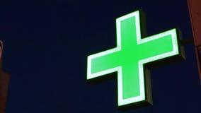 Λάμποντας σταυρός φαρμακείων απόθεμα βίντεο