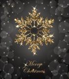 Λάμποντας υπόβαθρο Χριστουγέννων με λάμποντας χρυσό Snowflake Κάρτα Χαρούμενα Χριστούγεννας διάνυσμα διανυσματική απεικόνιση
