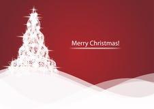Λάμποντας χριστουγεννιάτικο δέντρο στο κόκκινο αφηρημένο υπόβαθρο διανυσματική απεικόνιση