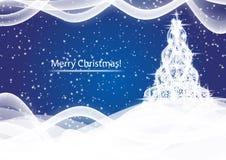Λάμποντας χριστουγεννιάτικο δέντρο στο μπλε αφηρημένο υπόβαθρο χιονοθύελλας απεικόνιση αποθεμάτων
