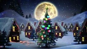 Λάμποντας χριστουγεννιάτικο δέντρο στο χιονώδες χωριό διανυσματική απεικόνιση