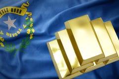 Λάμποντας χρυσές ράβδοι στην κρατική σημαία της Νεβάδας Στοκ εικόνα με δικαίωμα ελεύθερης χρήσης