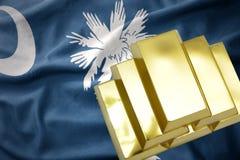 Λάμποντας χρυσές ράβδοι στην κρατική σημαία της νότιας Καρολίνας Στοκ Εικόνες