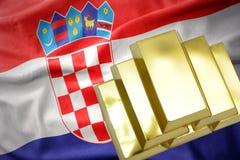 Λάμποντας χρυσές ράβδοι στην κροατική σημαία Στοκ φωτογραφίες με δικαίωμα ελεύθερης χρήσης