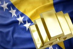 Λάμποντας χρυσές ράβδοι στη σημαία Βοσνίας-Ερζεγοβίνης Στοκ φωτογραφία με δικαίωμα ελεύθερης χρήσης