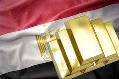 Λάμποντας χρυσές ράβδοι στη σημαία της Αιγύπτου Στοκ φωτογραφία με δικαίωμα ελεύθερης χρήσης
