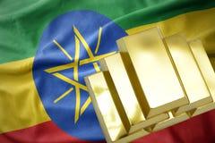 Λάμποντας χρυσές ράβδοι στη σημαία της Αιθιοπίας Στοκ Εικόνες