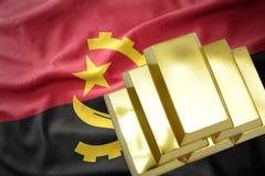 Λάμποντας χρυσές ράβδοι στη σημαία της Ανγκόλα Στοκ φωτογραφίες με δικαίωμα ελεύθερης χρήσης