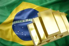 Λάμποντας χρυσές ράβδοι στη σημαία της Βραζιλίας Στοκ φωτογραφία με δικαίωμα ελεύθερης χρήσης