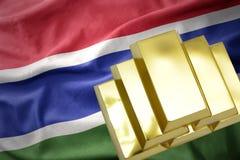 Λάμποντας χρυσές ράβδοι στη σημαία της Γκάμπιας Στοκ Φωτογραφίες