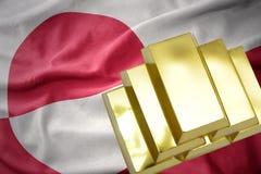 Λάμποντας χρυσές ράβδοι στη σημαία της Γροιλανδίας Στοκ φωτογραφία με δικαίωμα ελεύθερης χρήσης