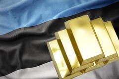 Λάμποντας χρυσές ράβδοι στη σημαία της Εσθονίας Στοκ Εικόνα
